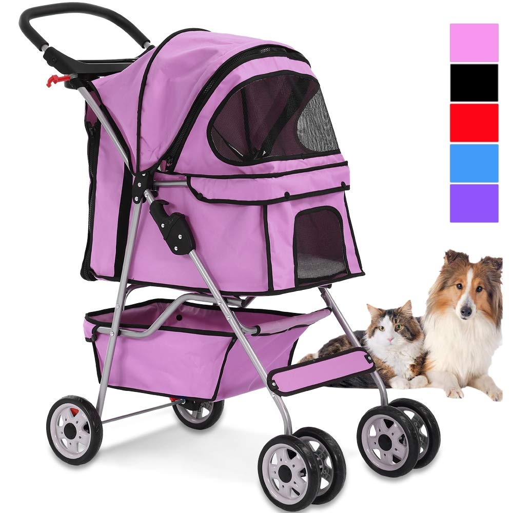 4 Wheels Pet Stroller Cat Dog Cage Stroller Travel Folding Carrier with Cup Holders and Removable Liner for Small-Medium Dog, Cat (Pink) by Dkeli