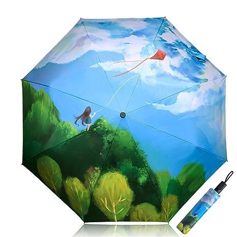 Sombrilla Protección UV Paraguas de Sol Mujer Niños Plegado Triple Chicas Creativo 3D Impreso Dibujos Animados