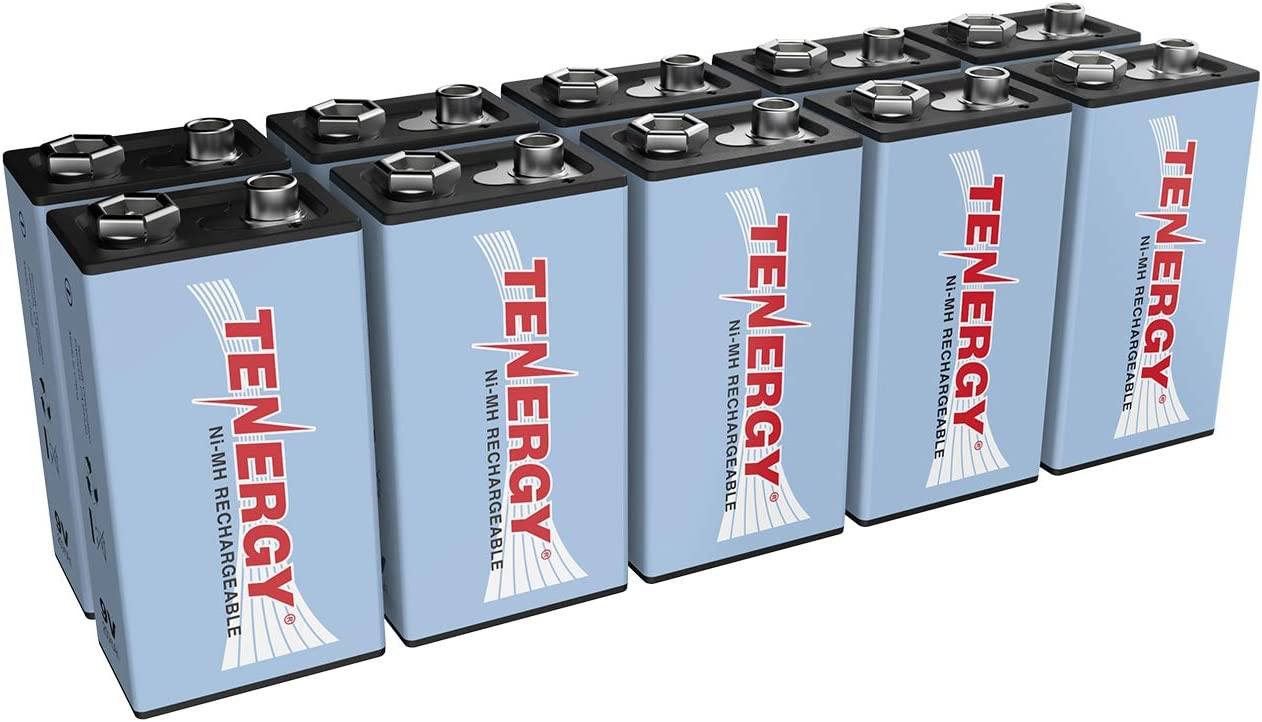Tenergy 9V NiMH Battery, High Capacity 250mAh Rechargeable 9 Volt Batteries for Smoke Detector/Alarms, TENS Unit, Metal Detector, and More (10 Pack)