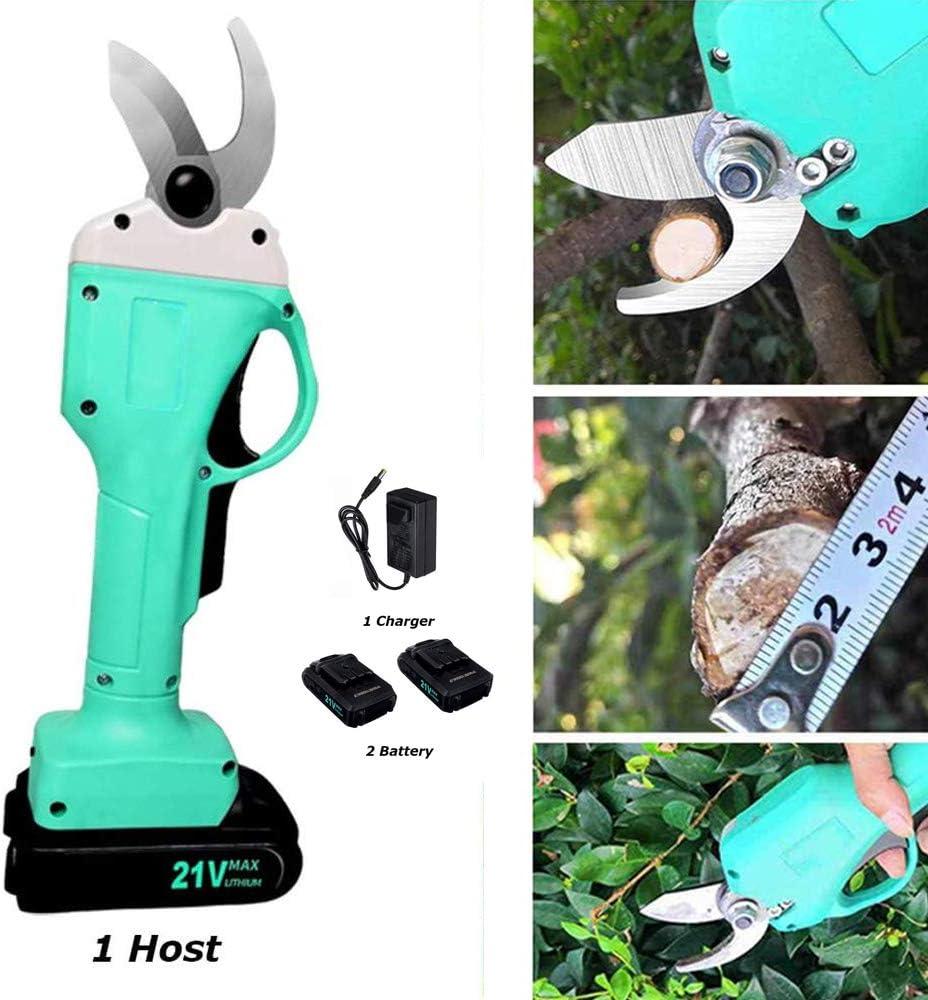 Cesoie elettriche da giardino,SEAAN 25 mm elettriche da potatura a batteria cordless 2 batterie ricaricabili agli ioni di litio da 21 V Trimmer per,alberi dafrutta da giardino