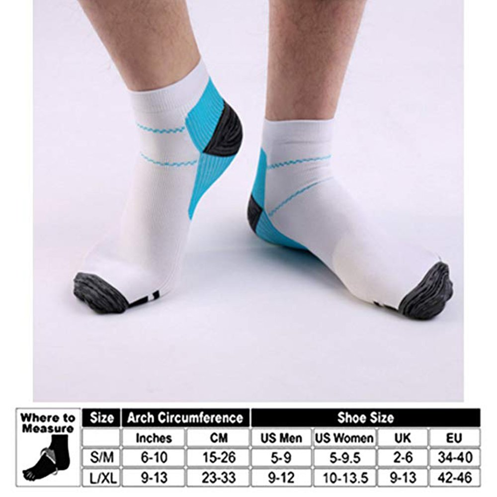 Sport Plantar Fasciitis Arch Support Compression Foot Socks/Foot Sleeves (7 Pairs) - Increases Circulation, Relieve Pain Fast (Black&Blue, L/XL) by Iseasoo (Image #7)