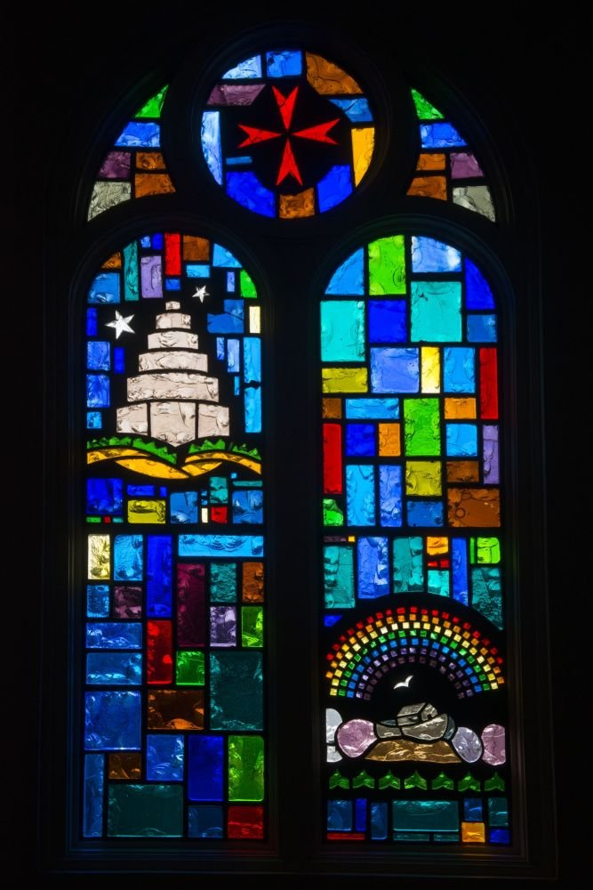 2014 Photo Stained-glass window at Our Lady of Guadalupe Catholic Church in Mission, Texas Location: Mission, Texas