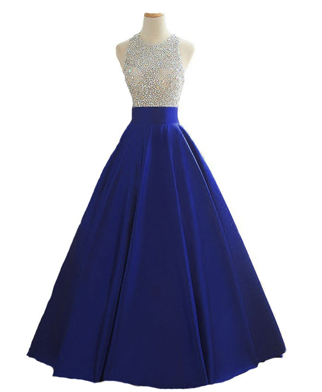 HEIMO Women's Sequins Keyhole Back Evening Ball Gown Beaded Prom Formal Dresses Long H095 2 Royal Blue