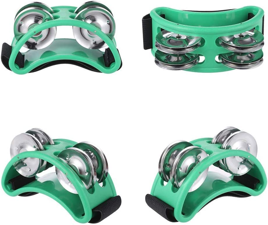 blue FJS2S-BK Percussion Foot Tambourine with Stainless Steel Jingles Accompaniment for Cajon Gigs for Guitar Drum Accessory Instrument