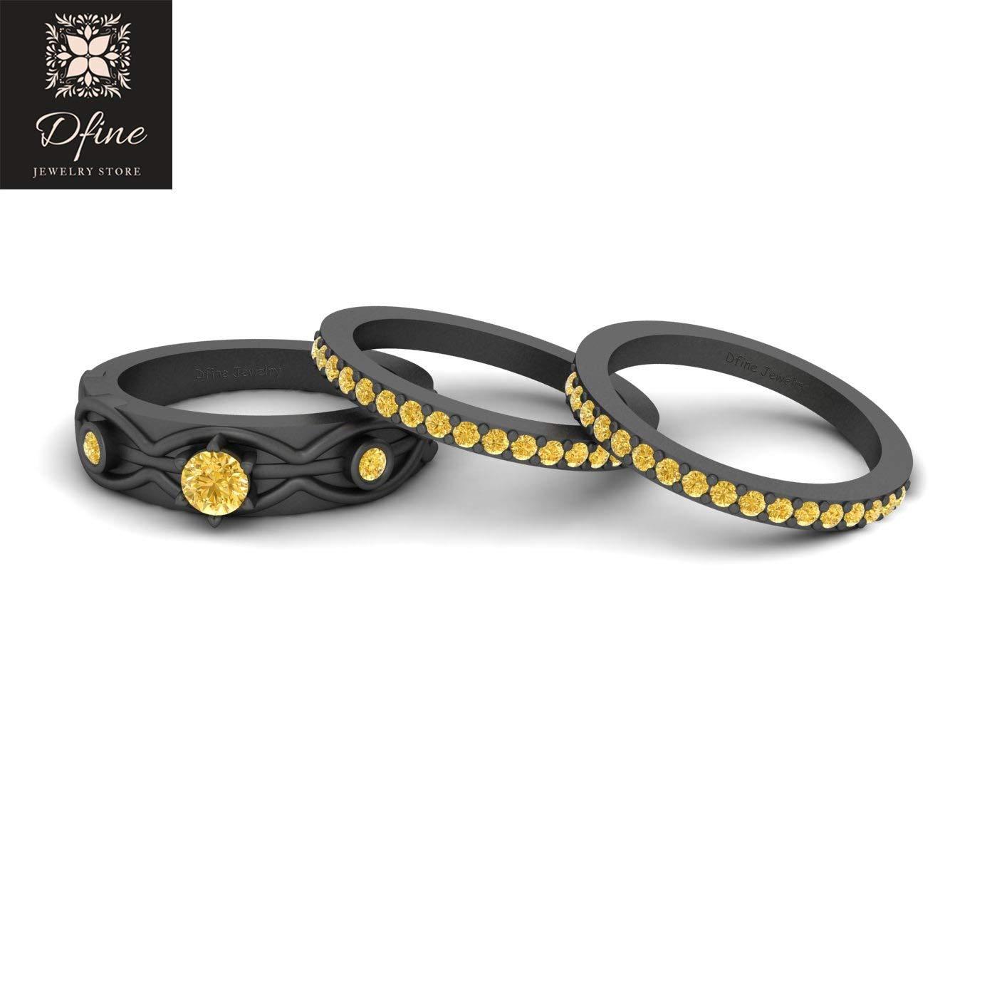 Superhero Batman Theme Wedding Ring Set Womens Yellow CZ 3 Stone Engagement Ring Set