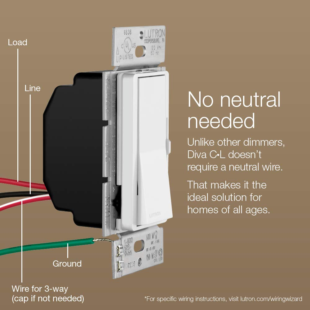 Lutron Dvcl 153p Wh Diva Dimmable Cfl Led Dimmer White By Wiring Diagram Uk Lighting