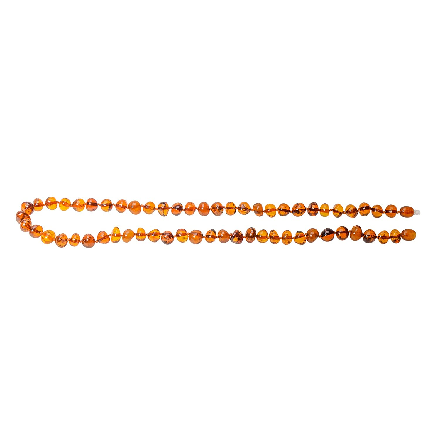 Knotted Between Beads Cognac Color Certified Amber Natural Pain Relief Adult Baltic Amber Necklace