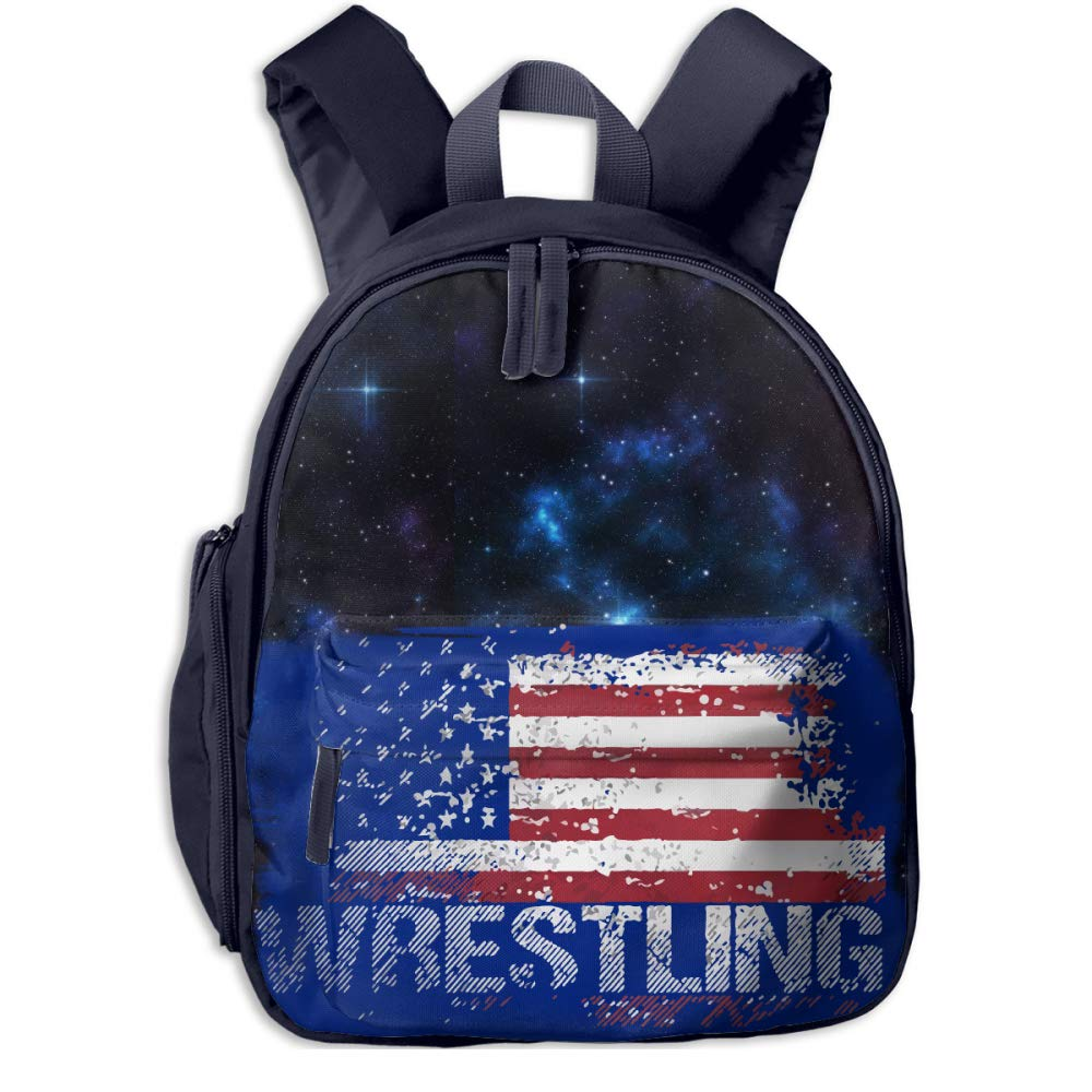 Wrestling American Flag Vintage Kids Lightweight Canvas Travel Backpacks School Book Bag by Wodehous Adonis