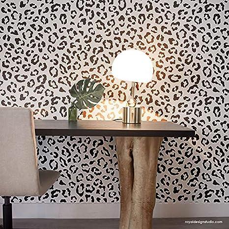 Amazoncom Leopard Spots Wall Stencil Animal Print