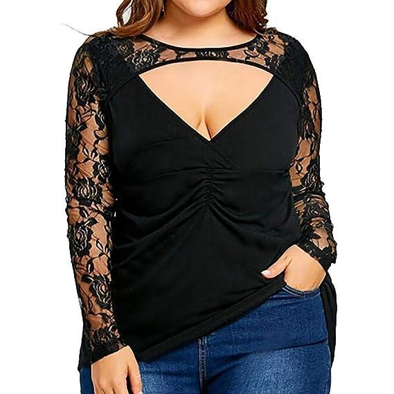 Luckycat Las Mujeres más el tamaño de Encaje sólido de Manga Larga Blusa Transparente Pullover Tops