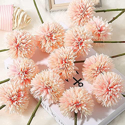 Fake Flowers 12pcs Chrysanthemum Ball Flowers, IPOPU Hydrangea Silk Artificial Flowers Bouquet for Home Decor Indoor Table Centerpieces for Dining Room Coffee(Peach)