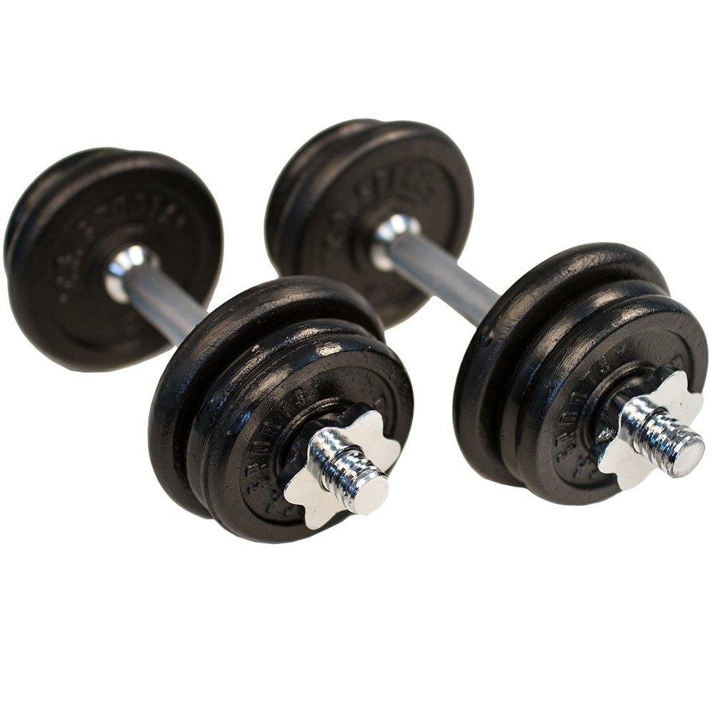 C.P. Sports mancuernas de hierro fundido 20 kg cortas, mancuernas mancuernas de 2 x barras de pesas con pesas: Amazon.es: Deportes y aire libre