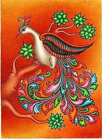 Kerala Mural Swan Art Handmade South India Nature Bird Ethnic Miniature Painting (Kerala South India)