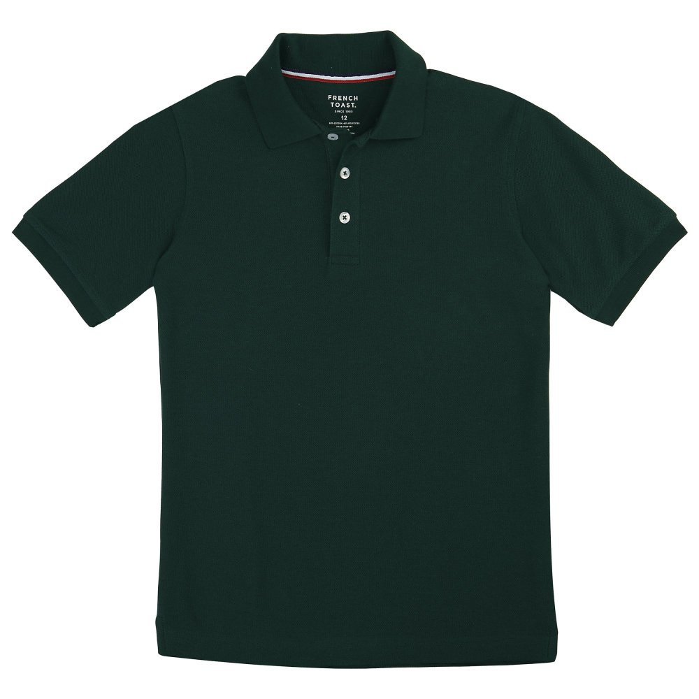 Unisex Short Sleeve Pique Knit Shirt by French Toast (Size 16, Hunter Green)