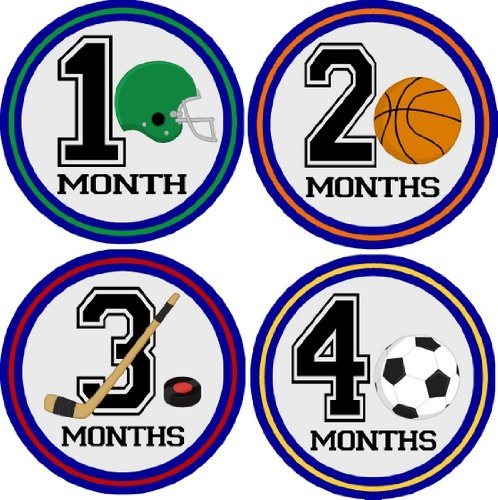 Sports Guy Monthly Baby Bodysuit Stickers