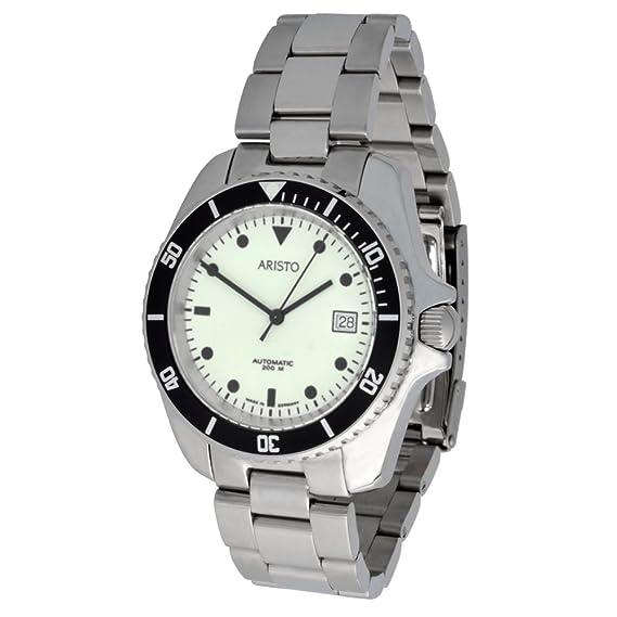 Aristo Unisex Reloj de Buceo automático modelo 4H108TU Super luminova Esfera Acero Inoxidable 20 ATM suizo ETA de reloj: Amazon.es: Relojes