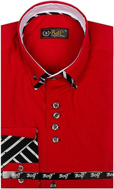 BOLF - Camisa Casual - con Botones - Manga Larga - para Hombre Rojo Medium: Amazon.es: Ropa y accesorios