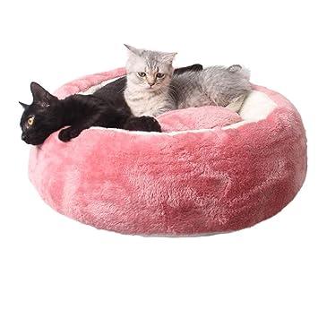Lamzoom Cama para Mascotas de Dona Supersuave para Gatos, Cachorros, Perros pequeños, Cama Redonda o Ovalada de Forro Polar para Perro, Cueva de Perro: ...