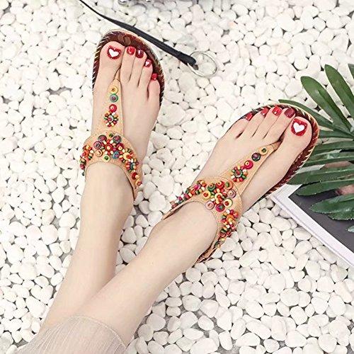 Sandali Flat T-strap Per Donna Moda Bohemia Bordeaux Sandalo Infradito Marrone