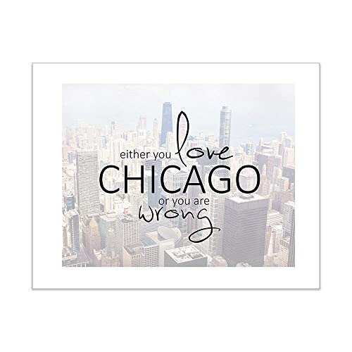 a8a550a5 Amazon.com: Chicago Typography Photo Art Print, Aerial Skyscraper ...