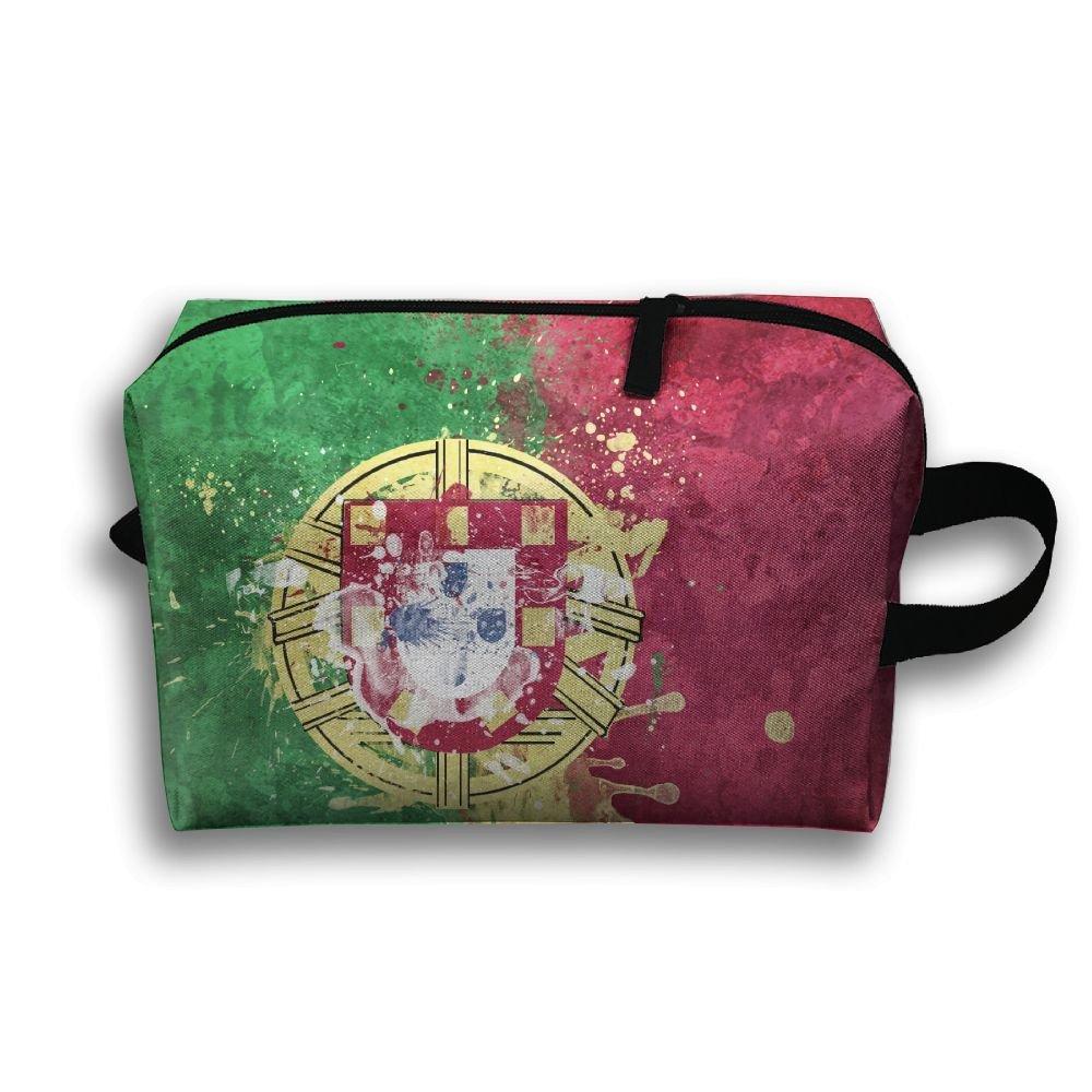 RONG FA Retro Portugal Honorable Flag Coat Of Arms Republic Portable Travel Makeup Bag,Storage Bag Portable Ladies Travel Square Cosmetic Bag