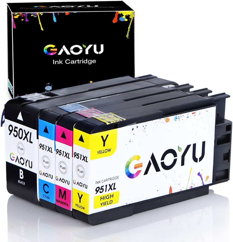 GAOYU 950XL 951XL Compatible for HP 950 951 Ink Cartridges Work with HP Officejet Pro 8610 8600 8620 8630 8100 8625 8615 8660 8640 251DW 276DW 271DW Printer (Black, Cyan, Magenta, Yellow, 4 Pack)
