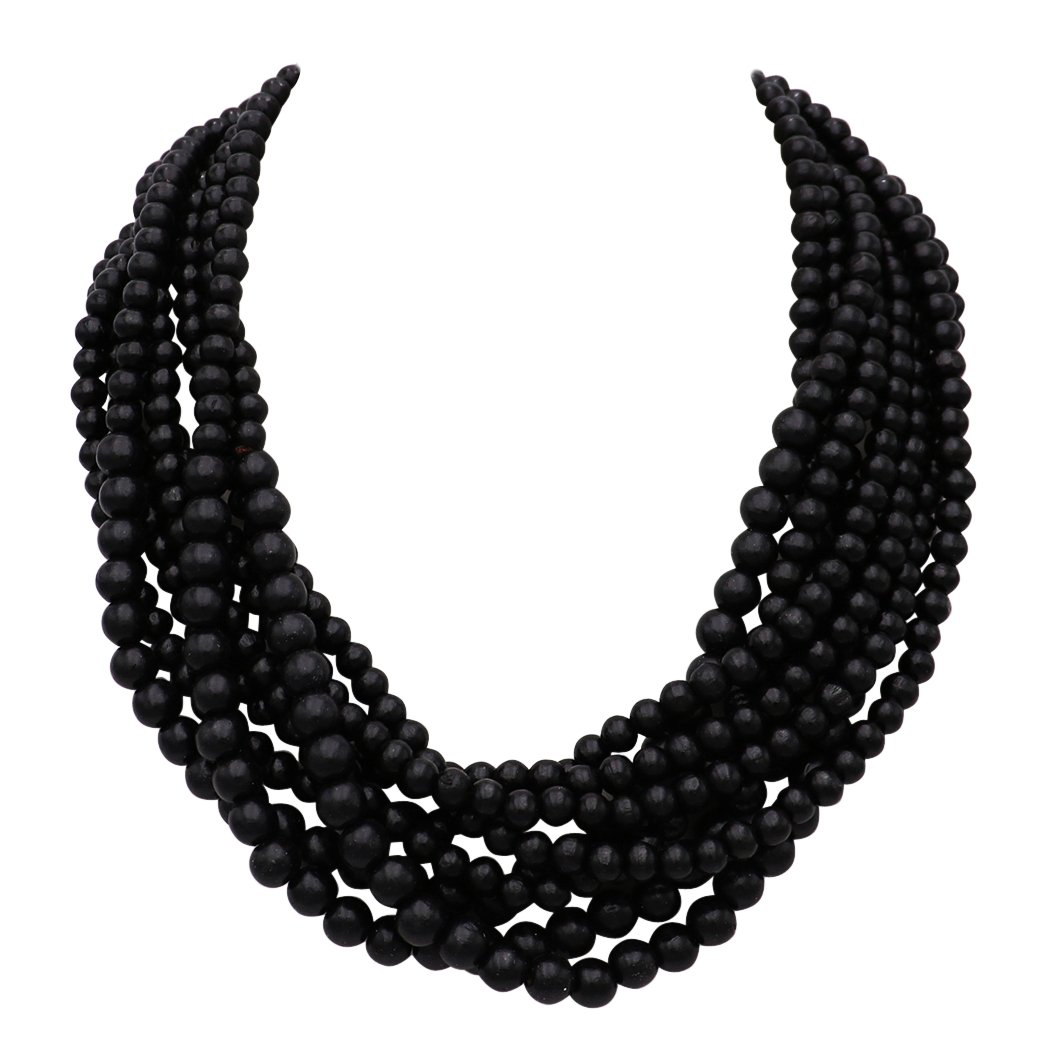 Rosemarie Collections Women's Wooden Bead Multi Strand Statement Bib Necklace (Black)