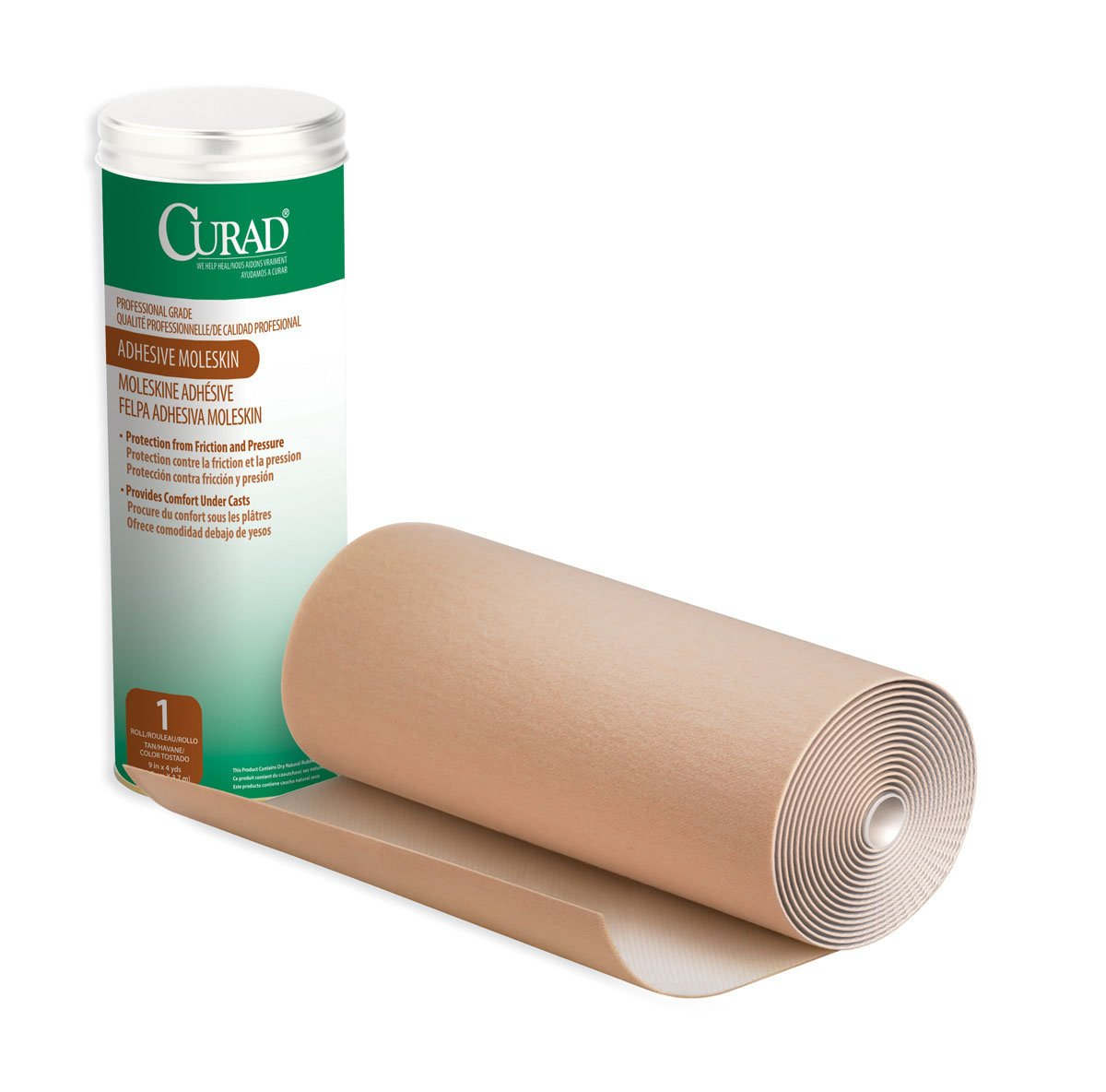 CURAD Adhesive Moleskin Roll, Prevent Blisters, Corns and Calluses, 9'' x4 YDS, 1 Roll