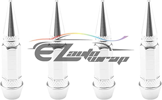 EZAUTOWRAP 4PCs Black Long Spike Spiked Tire Valve Stem Caps Metal Thread Wheel Tires TVC28