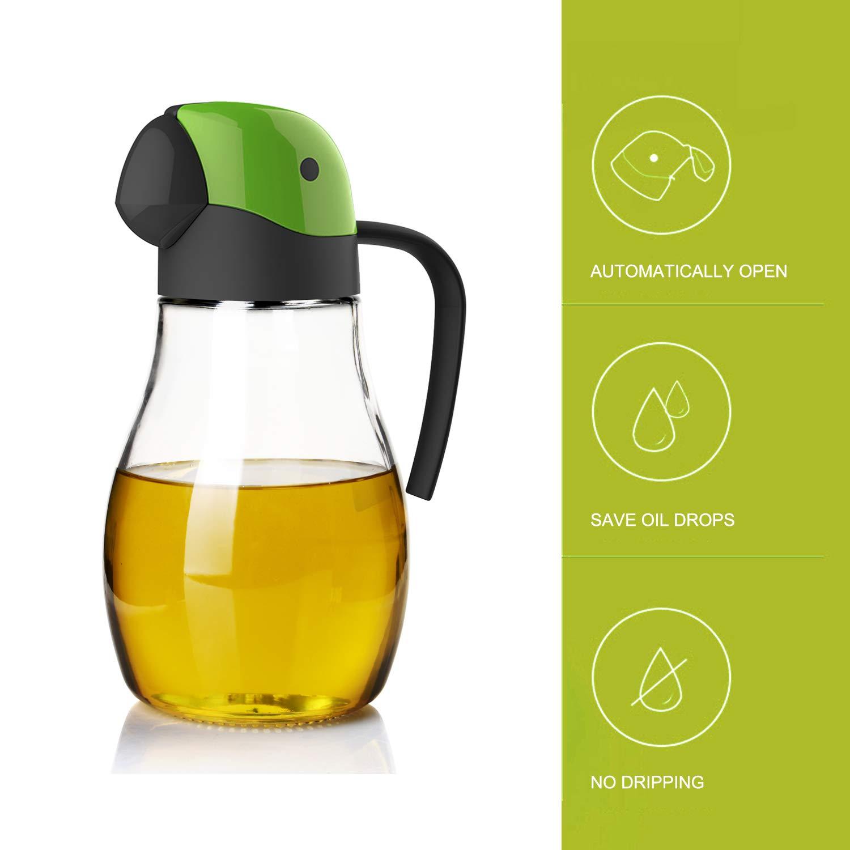 Olive oil dispenser automatic cap 20oz/600ml, glass oil bottle suitable for kitchen, no drip parrot shape design (Green-20oz)