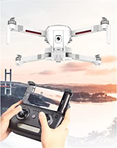 SCYMYBH Drones GPS Dual Cameras, 4K UHD Mini FPV Quadcopter with Live Video, Auto Return Home, Follow Me, Tap Fly, Easy to Use for Beginner (Color : White)
