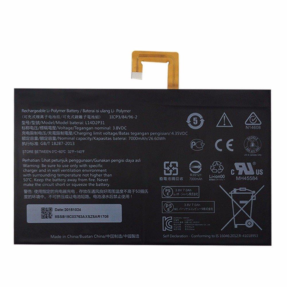Bateria 3.8v 7000mah 26.6wh L14d2p31 Para Lenovo Tab 2 A7600-f A10-70f Tab2 A10-70 A10-70l Tablet