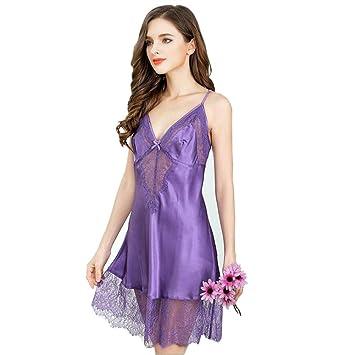 a5ec4cc36d Mujer Pijamas de seda 100% Vestido de dormir Conjunto Casa Ropa Cuatro  estaciones Elegante Lujoso Frío Honda Ropa interior Bata de baño