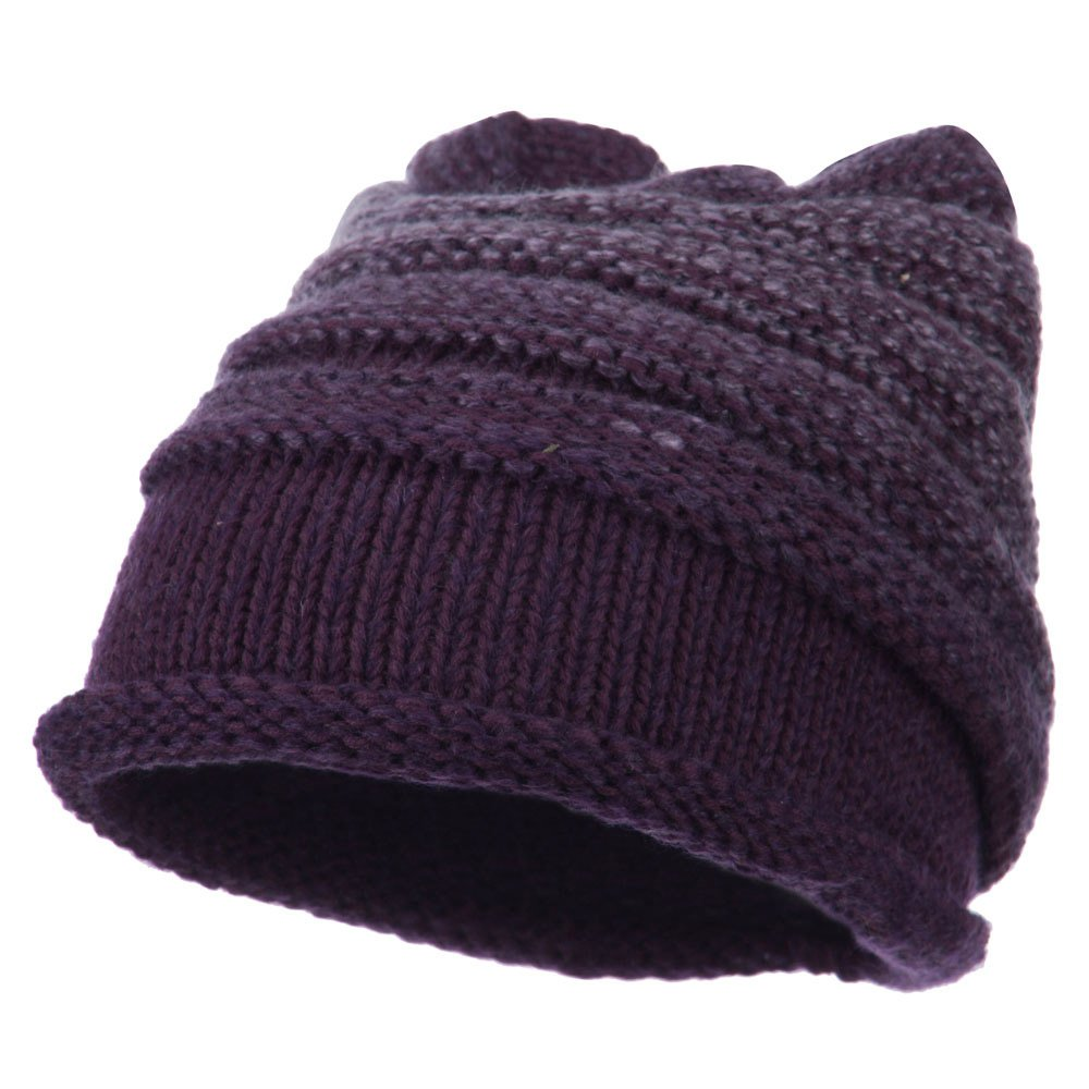 Cheveux Women\'s Ribbed Rolled Beanie - Purple