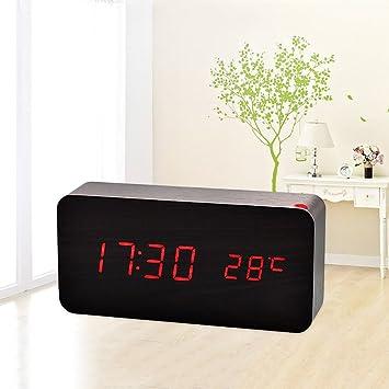 Reloj despertador SXWY (negro), alarma multifunción de ...