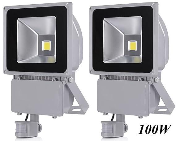 2X 100W Foco LED con Sensor Movimiento, Proyector LED Exterior de Impermeable IP65,Iluminación