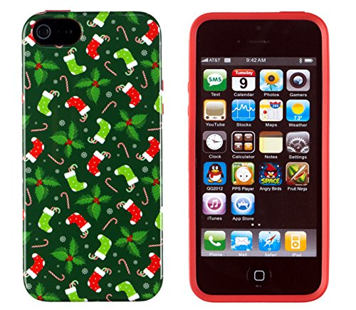 iPhone 5 / 5S Case, DandyCase PERFECT PATTERN *No Chip/No Peel* Flexible Slim Case Cover for Apple iPhone 5 / 5S - LIFETIME WARRANTY [Candy Canes, Christmas Stockings, and Mistletoe] (Holiday Cheer Stocking)