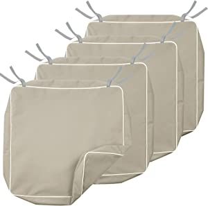 Porch Shield Patio Chair Seat Cushion Covers 21 x 21 Inch, Outdoor Waterproof Fade Resistant Cushion Slipcovers Set 4, Beige