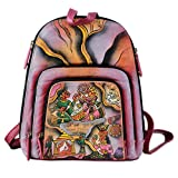 NOVICA Multicolor Leather Backpack, 'Royal Court'