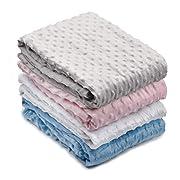 PEKITAS Extra Large Soft Double Layer Minky Dot Blanket Baby Boys Girls,35 x 40 inch,Grey