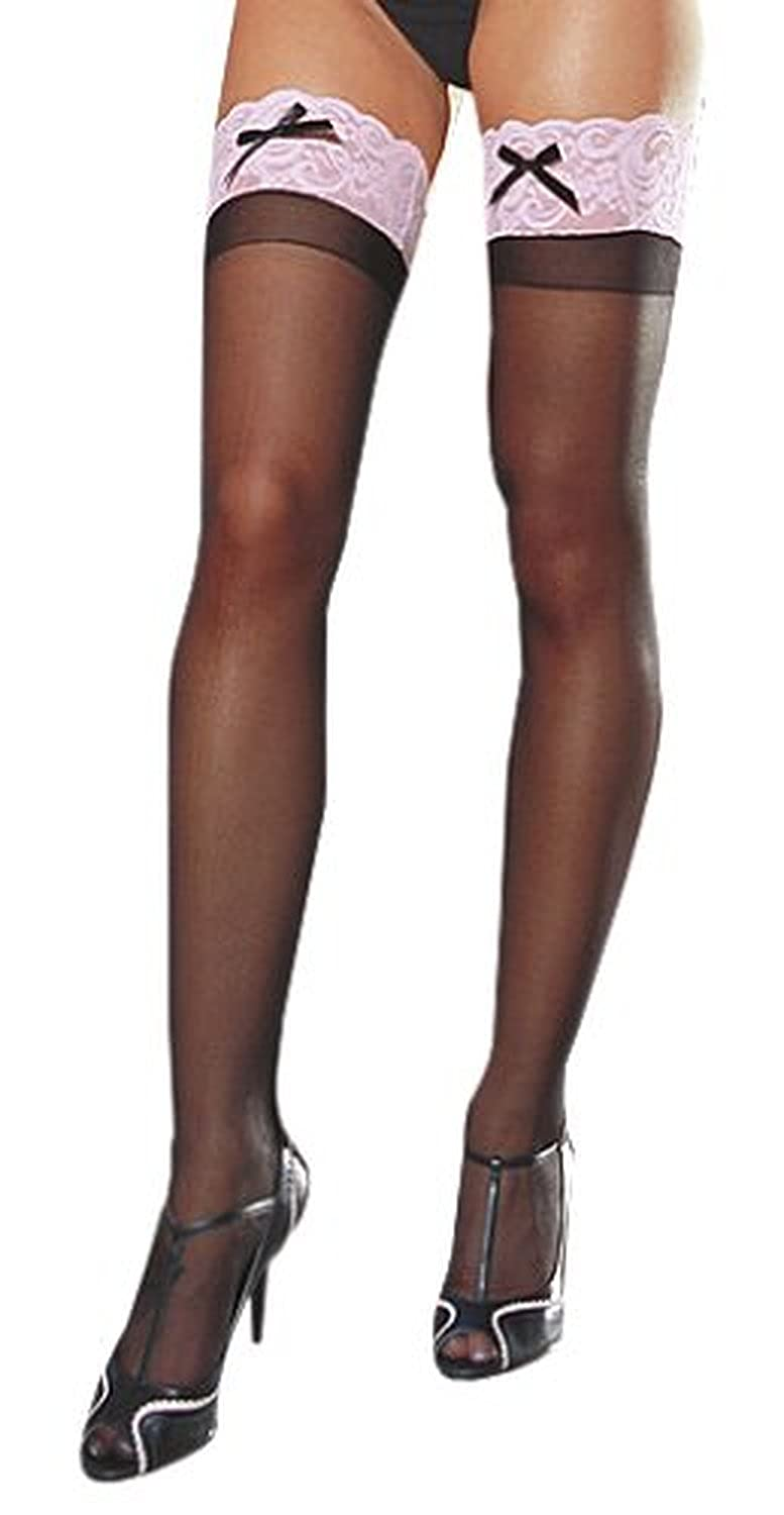 Dreamgirl Women's Sheer Thigh-High Stockings with Contrast Lace and Bow Black/Red One Size 0026Black-red-one-size reikos_0016707967_037