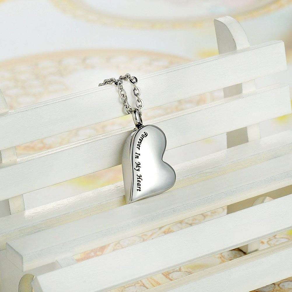 TTVOVO Cremation Urn Necklace for Ashes Engraved Forever in my heart Charm Pendant Memorial Keepsake Bereavement Stainless Steel Jewelry by TTVOVO (Image #4)