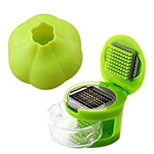 Coralpearl Kitchen Food Aid Garlic Ginger Master Box Plastic Stainless Steel Press Cutter Mincer Chopper Crusher Slicer Grater Grinder Twister Dicer Machine Silicone Peeler Gadget Green Tool Set