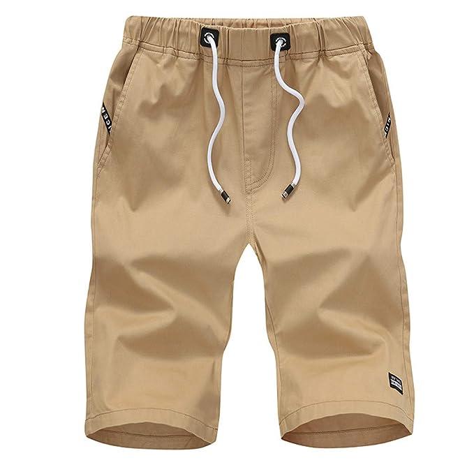 LuckyGirls Hombres Pantalones de Rectos Color Sólido Casual ...