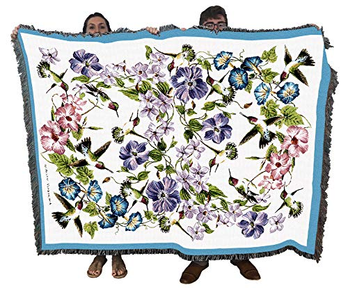 Pure Country Weavers Colorful Hummingbirds Blue Pink Flowers Woven Blanket Large Soft Comforting Throw 100% Cotton Made in The USA 72x54