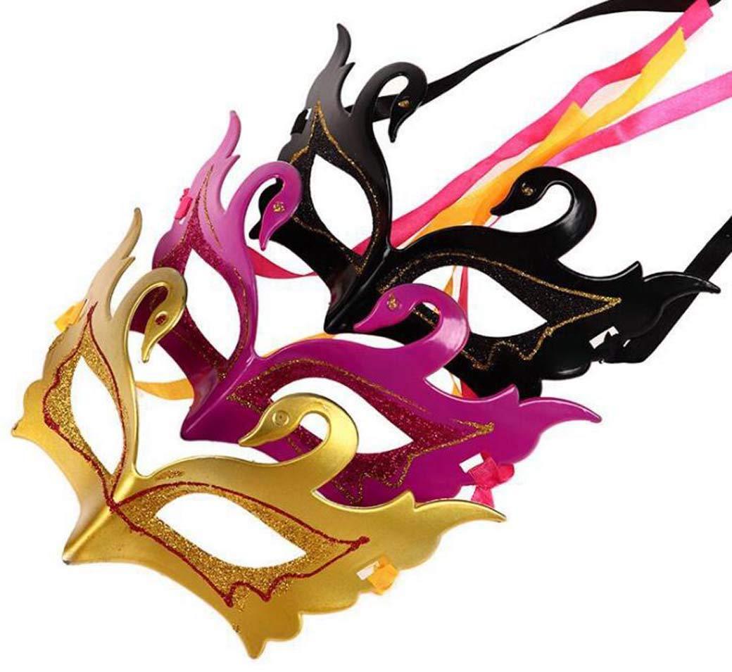 Proceso de Pintura Veneciana m/áscara de Bola Baile de graduaci/ón Pintura de Metal Brillante Bonita Fiesta m/áscara de Metal Ultraligera ZTYD Masquerade M/áscara de Cisne para Mujer