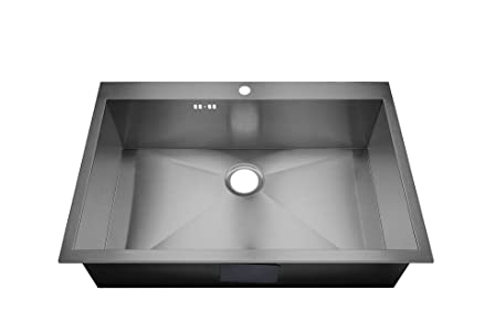 DS027 - Lavandino da cucina da incasso, 740 x 480 mm, in acciaio ...