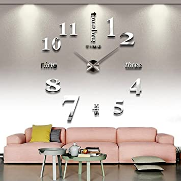 diy wall decor for bedroom. CoZroom Large Silver 3D Frameless Wall Clock Stickers DIY Decoration For Living Room Bedroom Diy Decor A