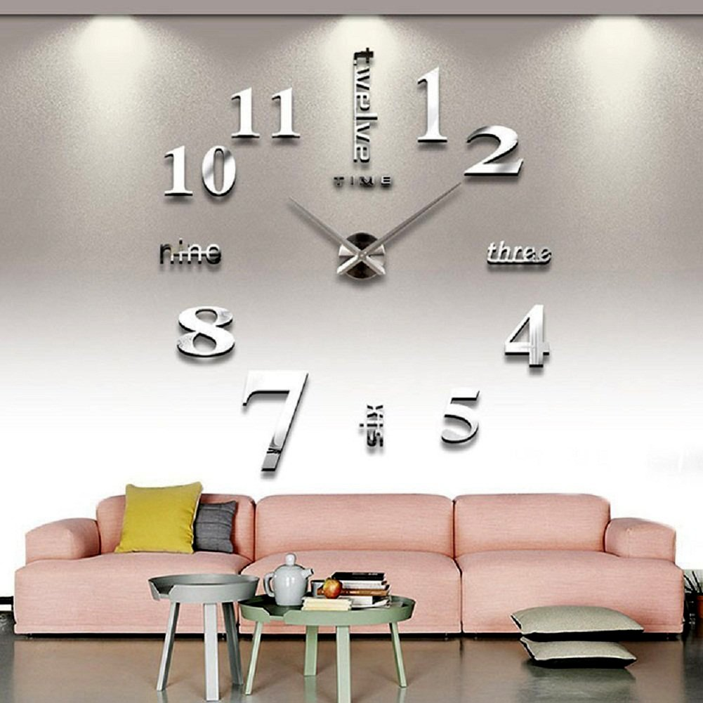 Huge DIY Wall Clock Home Decor Living Room Modern Steam Proof Large ...