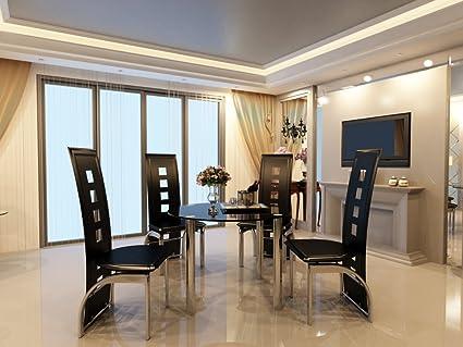 Moderno redondo cristal negro y cromo 4 asiento negro muebles de ...